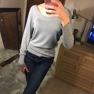 BCBG gray / blue long sleeve sweater work top